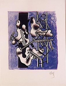 Fernand Leger - Mechanical Elements on a blue background