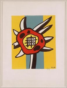 Fernand Leger - Sunflower on a yellow background