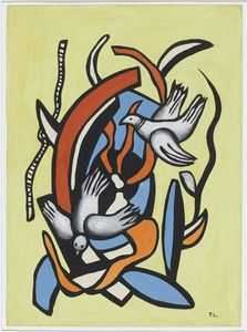 Fernand Leger - Birds on a yellow background