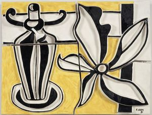 Fernand Leger - Lamp and flower (the candlestick)