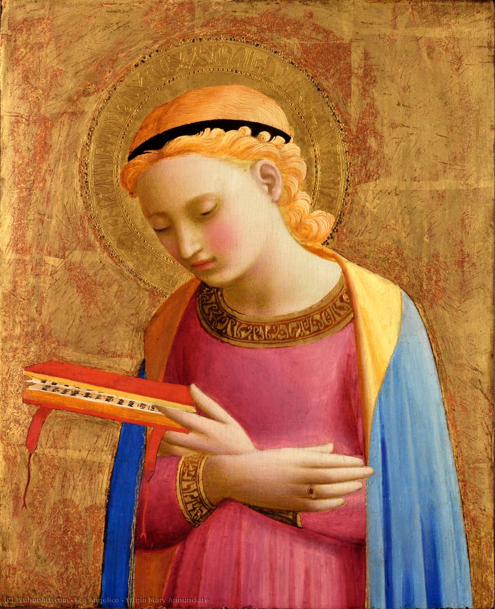 Virgin Mary Annunciate, 1431 by Fra Angelico (1395-1455, Italy) | Oil Painting | WahooArt.com