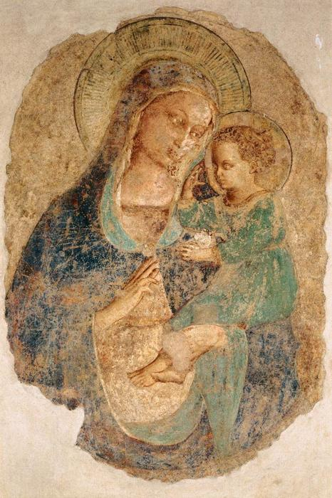 Madonna and Child, Frescoes by Fra Angelico (1395-1455, Italy)