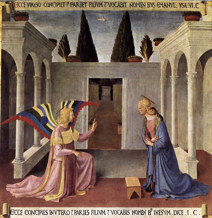 Order Art Reproductions | Annunciation, 1452 by Fra Angelico (1395-1455, Italy) | WahooArt.com