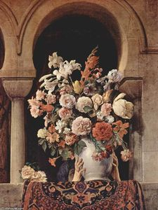 Francesco Hayez - Vase of Flowers on the Window of a Harem