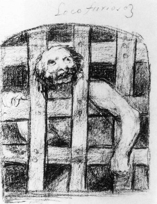 Lunatic behind Bars, 1828 by Francisco De Goya (1746-1828, Spain) | Paintings Reproductions Francisco De Goya | WahooArt.com