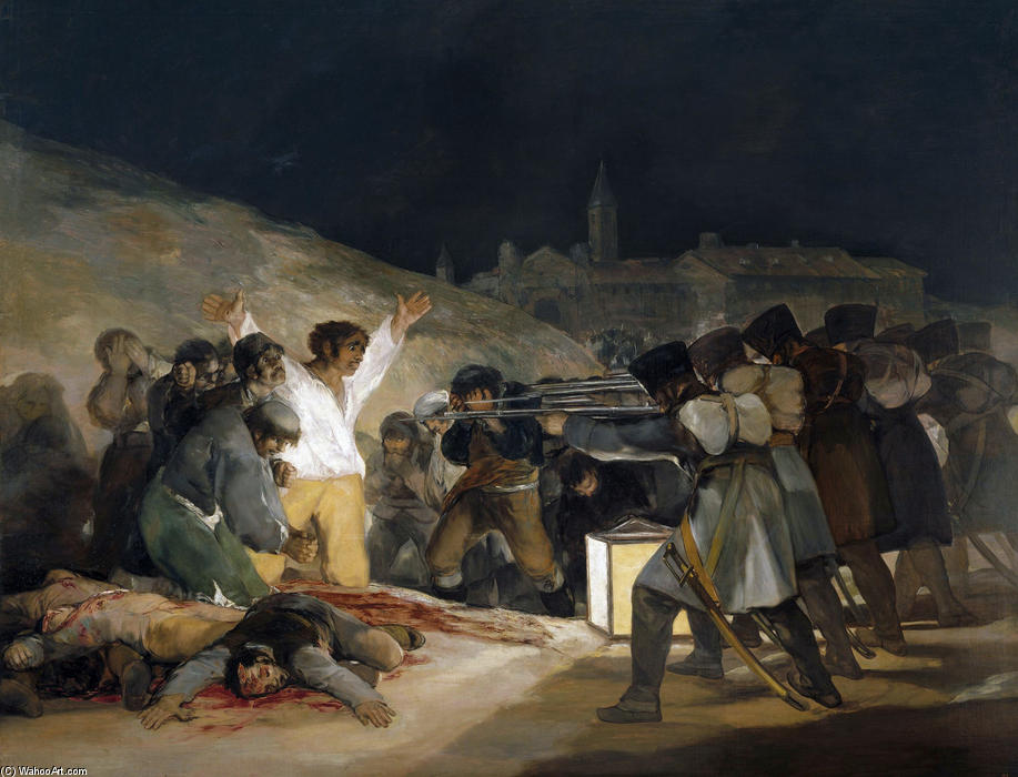 The Third of May 1808 (Execution of the Defenders of Madrid), 1814 by Francisco De Goya (1746-1828, Spain) | Famous Paintings Reproductions | WahooArt.com