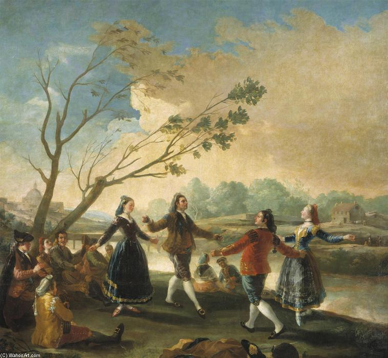 Dance of the Majos at the Banks of Manzanares, Oil On Canvas by Francisco De Goya (1746-1828, Spain)