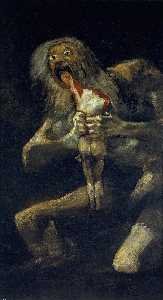 Francisco De Goya - Saturn Devouring His Son - (Famous paintings reproduction)