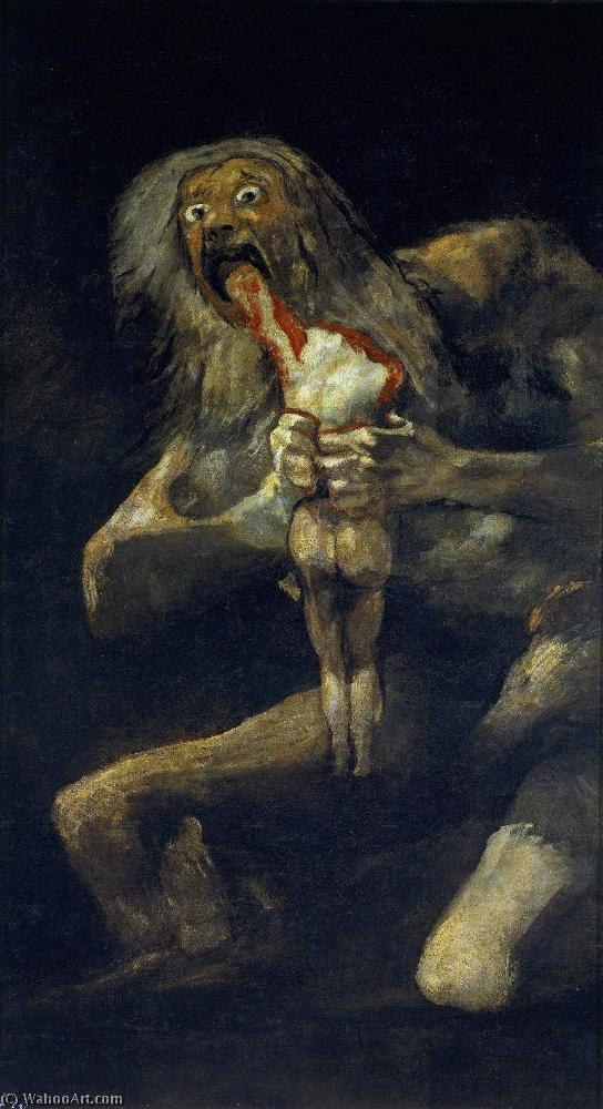 Saturn Devouring His Son, Oil On Canvas by Francisco De Goya  (buy Fine Art Art reproduction Francisco De Goya/order Fine Art painting copy Francisco De Goya/order Fine Art oil painting Francisco De Goya/order Fine Art Hand Painted Oil Painting Francisco De Goya)