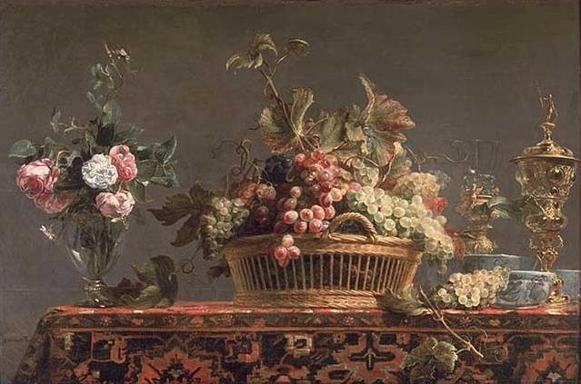 Grapes in a basket and roses in a vase by Frans Snyders (1579-1657, Belgium)