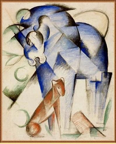 Horse and dog, 1913 by Franz Marc (1880-1916, Germany)