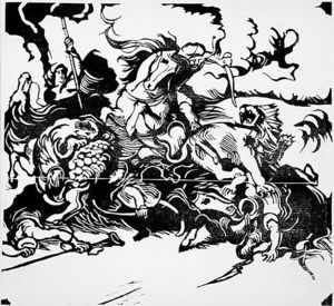 Franz Marc - Lion Hunt (after Delacroix)