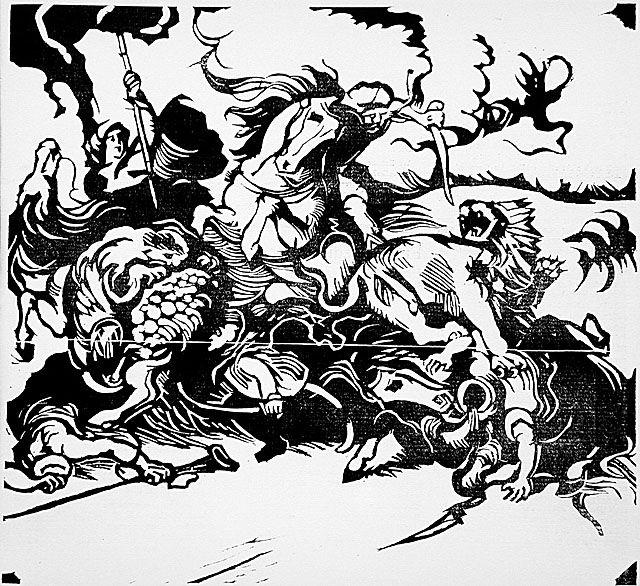 Lion Hunt (after Delacroix), 1913 by Franz Marc (1880-1916, Germany) | Museum Quality Reproductions | WahooArt.com