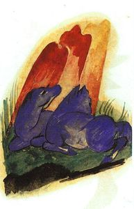 Franz Marc - Two Blue Horses in front of a Red Roc