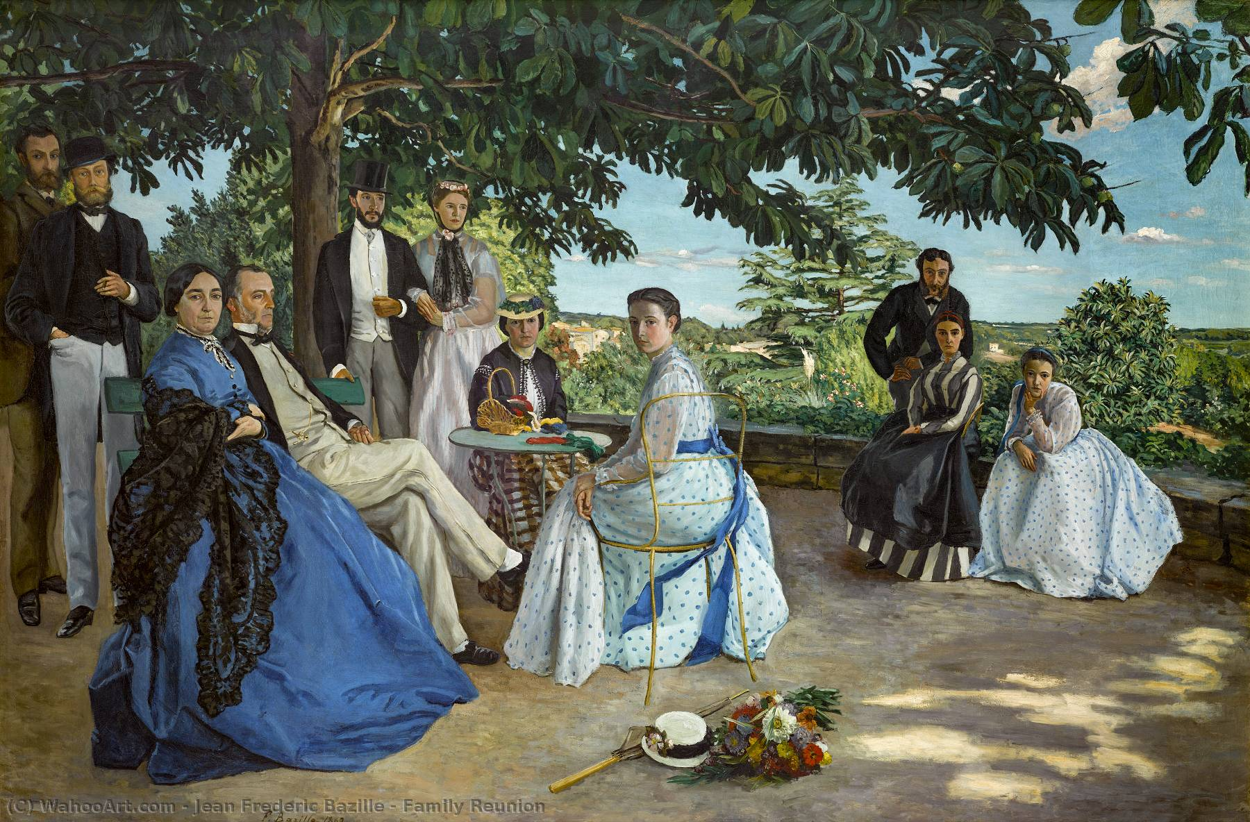 Family Reunion, 1867 by Jean Frederic Bazille (1841-1870, France) | Paintings Reproductions Jean Frederic Bazille | WahooArt.com