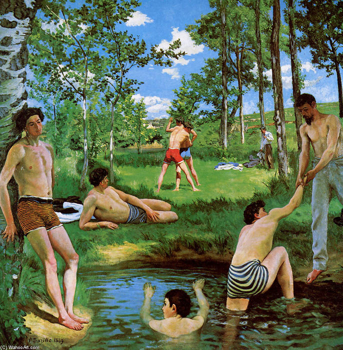 Bathers (Summer Scene), 1869 by Jean Frederic Bazille (1841-1870, France) | Famous Paintings Reproductions | WahooArt.com