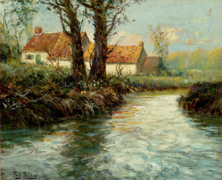 House by yhe Water`s Edge by Frits Thaulow (1847-1906, Norway) | Paintings Reproductions Frits Thaulow | WahooArt.com