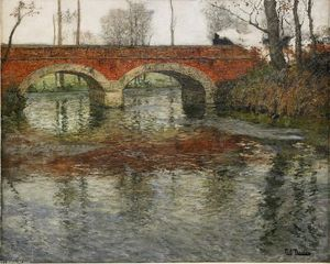 Order Art Reproductions | French River Landscape with a Stone Bridge by Frits Thaulow (1847-1906, Norway) | WahooArt.com