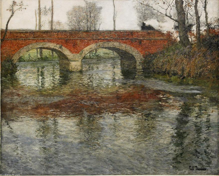 French River Landscape with a Stone Bridge by Frits Thaulow (1847-1906, Norway) | Museum Quality Reproductions | WahooArt.com