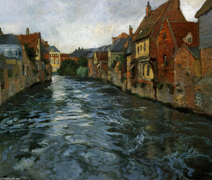 Frits Thaulow - Riverside, View of Abbeville