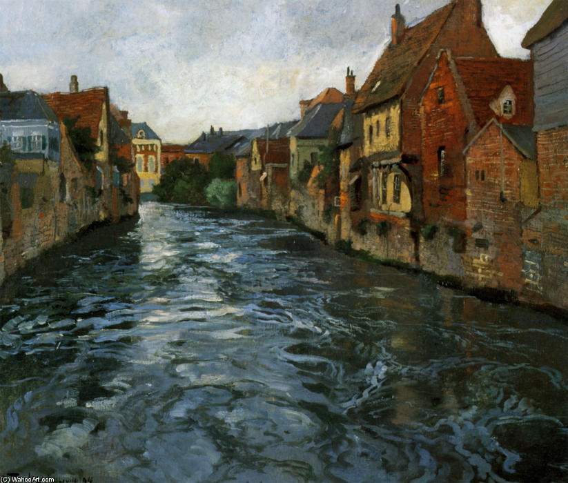 Riverside, View of Abbeville, 1894 by Frits Thaulow (1847-1906, Norway) | Museum Quality Copies Frits Thaulow | WahooArt.com