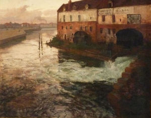 Frits Thaulow - Old factory on the Somme (Evening)
