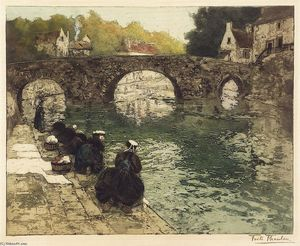 Frits Thaulow - Washerwomen at Quimperle