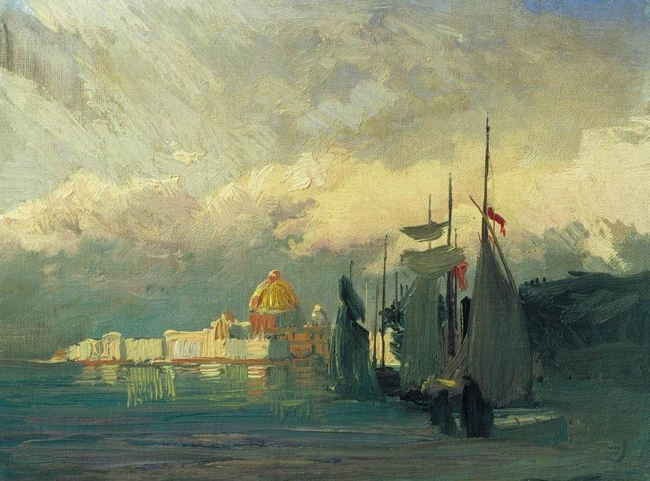 Order Famous Paintings Reproductions : On the Neva, 1871 by Fyodor Alexandrovich Vasilyev (1850-1873, Russia) | WahooArt.com