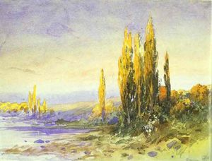 Fyodor Alexandrovich Vasilyev - Lombardy Poplars on the Bank of a Lake. Evening