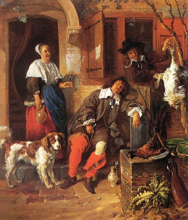 The Sleeping Sportsman, 1659 by Gabriel Metsu (1629-1667, Netherlands) | Famous Paintings Reproductions | WahooArt.com