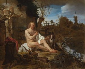 Gabriel Metsu - A Hunter Getting Dressed after Bathing