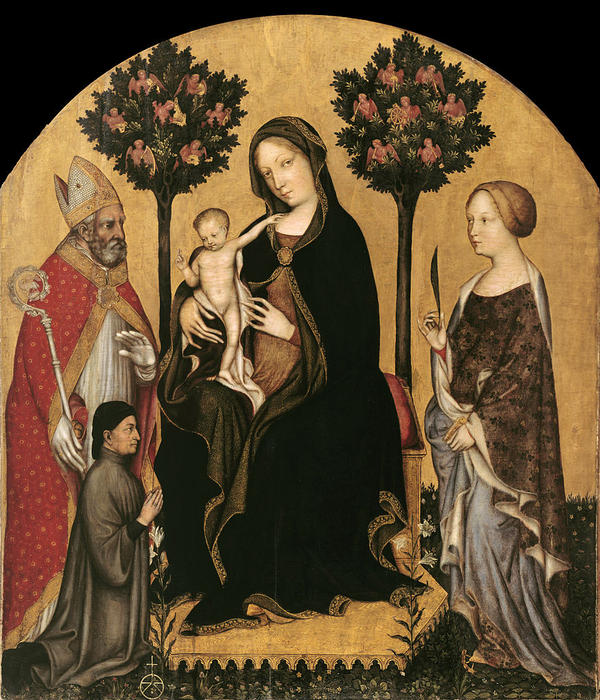 Mary Enthroned with the Child, Saints and a Donor by Gentile Da Fabriano (1370-1427, Italy) | Painting Copy | WahooArt.com