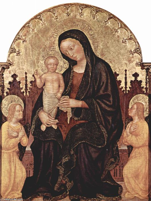 Madonna With Two Angels, 1410 by Gentile Da Fabriano (1370-1427, Italy) | Museum Quality Reproductions | WahooArt.com