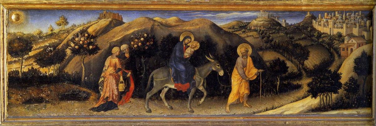 Adoration of the Magi Altarpiece, left hand predella panel depicting Rest during The Flight into Egypt, Tempera by Gentile Da Fabriano (1370-1427, Italy)