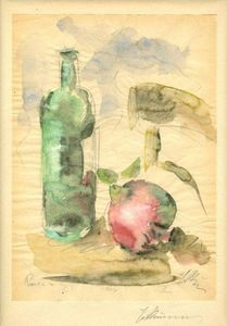 George Bouzianis - Still Life with Pomegranate, Bottle and Chair
