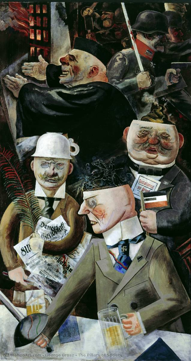 The Pillars of Society, Oil On Canvas by George Grosz (1893-1959, German Empire)