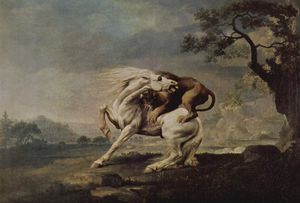 George Stubbs - Lion Attacking a Horse - (Buy fine Art Reproductions)
