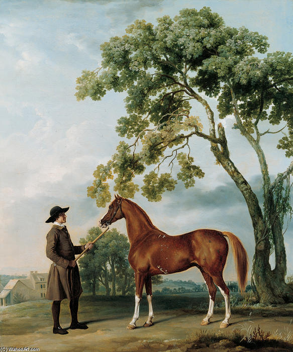 Lord Grosvenor`s Arabian Stallion with a Groom, 1765 by George Stubbs (1724-1806, United Kingdom) | Oil Painting | WahooArt.com