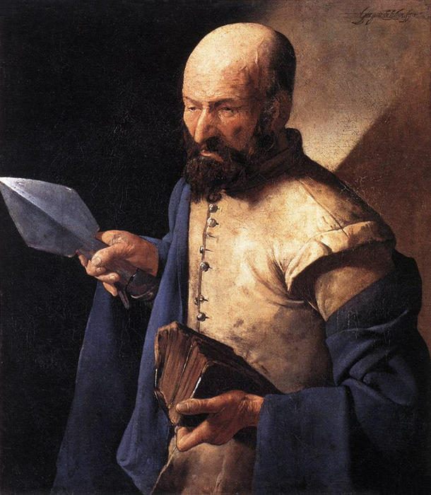 St. Thomas, also called Saint with a Pike, 1630 by Georges De La Tour (1593-1652, France) | WahooArt.com