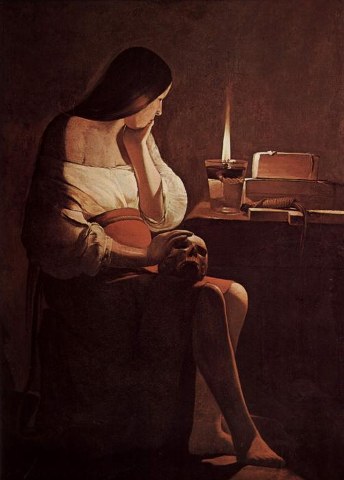 Mary Magdalene with a night light, Oil On Canvas by Georges De La Tour (1593-1652, France)