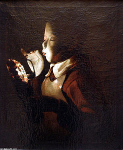 Georges De La Tour - Boy Blowing at Lamp