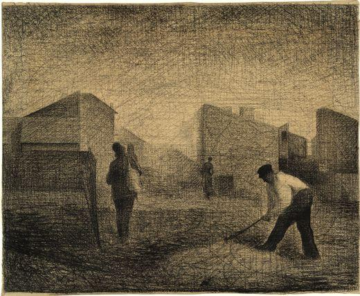Order Art Reproductions | Stone breakers, Le-Raincy, 1881 by Georges Pierre Seurat (1859-1891, France) | WahooArt.com