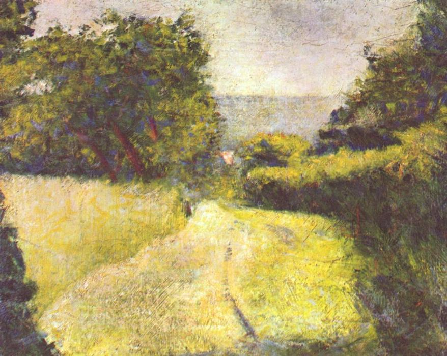 The Hollow Way, Oil On Canvas by Georges Pierre Seurat (1859-1891, France)