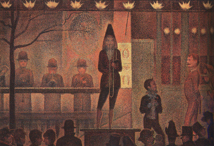 Circus Sideshow, Oil On Canvas by Georges Pierre Seurat (1859-1891, France)