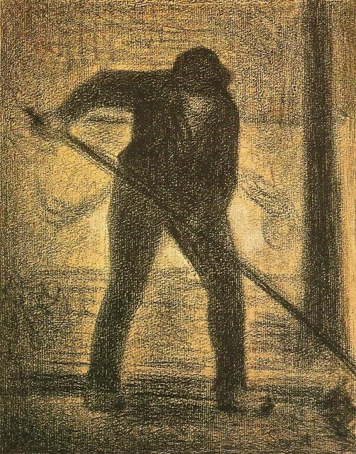 The Garbage Picker, Crayon by Georges Pierre Seurat (1859-1891, France)