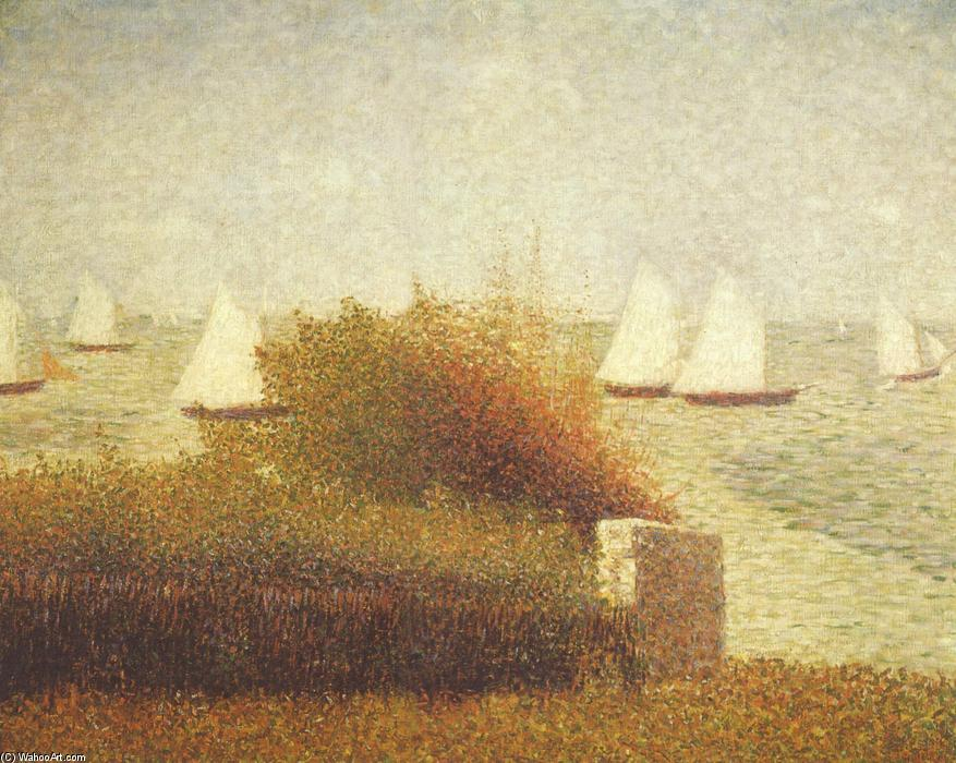 Race in Grandcamp, Oil On Canvas by Georges Pierre Seurat (1859-1891, France)