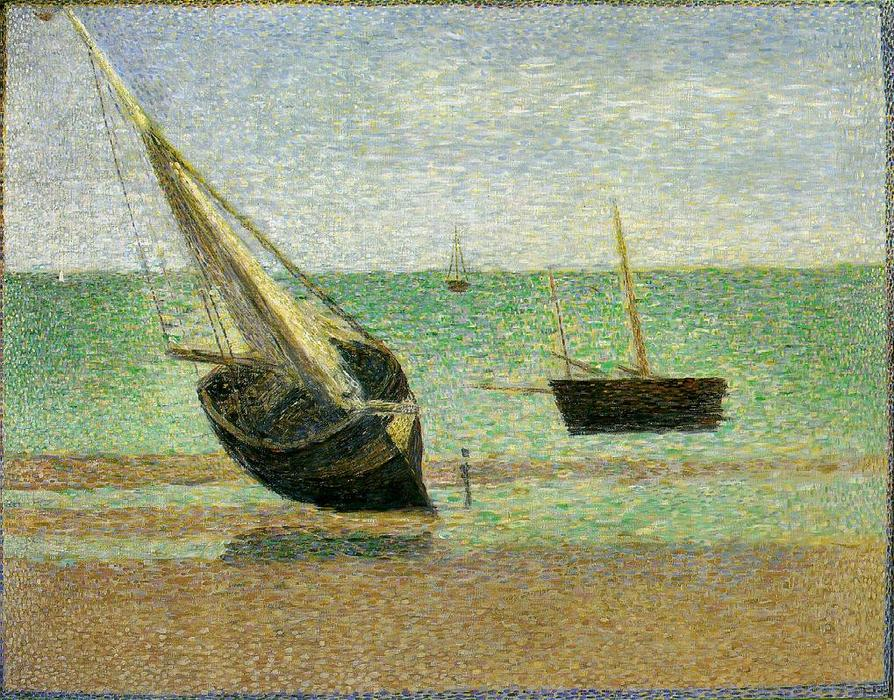 Low Tide at Grandcamp, Oil On Canvas by Georges Pierre Seurat (1859-1891, France)