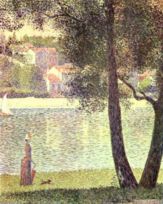 The Seine at Courbevoie, 1885 by Georges Pierre Seurat (1859-1891, France) | Art Reproduction | WahooArt.com