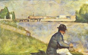 Georges Pierre Seurat - Seated Man. Study for --Bathers at Asnieres--