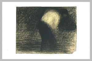 Georges Pierre Seurat - At work the land: man's face in profile, leaning forward